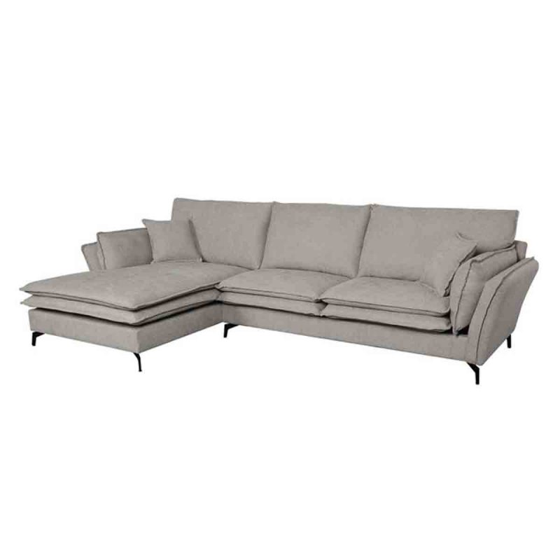 Robert καναπές με δεξιά γωνία υφασμάτινος σκούρο γκρι 296x166x89 εκ