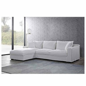 Warner γωνιακός καναπές με δεξιά γωνία και εκρού με ύφασμ&