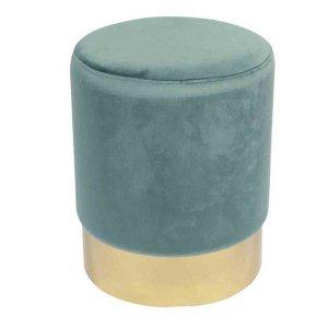 Σκαμπό βοηθητικό Sol με χρυσή βάση και πράσινο βελούδινο με ύφασμα 37x44 εκ | Echo Deco