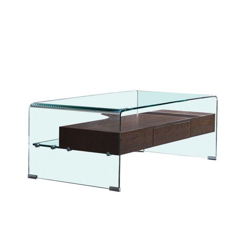 Glasser wood τραπέζι σαλονιού με ράφι clear γυαλί  120x60x42 εκ