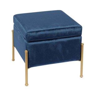 Σκαμπό Ray με χρυσή βάση και με ύφασμα βελούδινο σε μπλε χρώμα 40x40x37 εκ