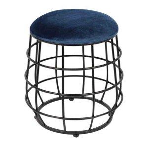 Σκαμπό Vivo με μεταλλικό μαύρο σκελετό και υφασμάτινο κάθισμα μπλε velure 39x39x43 εκ