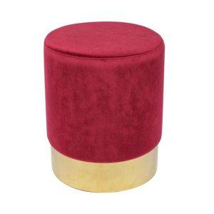 Sol κόκκινο βελούδινο σκαμπό με χρυσή βάση 37x44 εκ