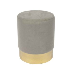 Sol σκαμπό βοηθητικό με γκρι βελούδο και χρυσή βάση 37x44 εκ