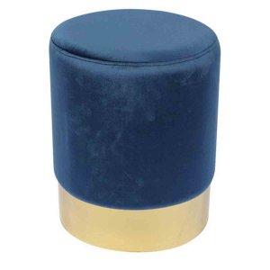 Sol σκαμπό βοηθητικό με χρυσή λεπτομέρεια και μπλε βελούδινο με ύφασμα 37x44 εκ