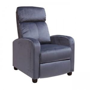 Porter πολυθρόνα relax με γκρι βελούδινο ύφασμα 68x86x99  εκ