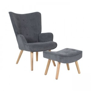 Alma σετ από πολυθρόνα και σκαμπό ξύλινη με γκρι velure 45x71x69 εκ