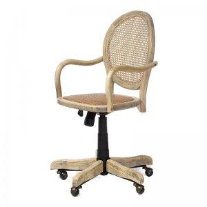 Καρέκλα γραφείου ξύλινη  με ratτan πλάτη και κάθισμα σε φυσική απόχρωση 45x42x88 εκ