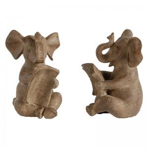Ethnic βιβλιοστάτες Elephant σετ των δύο 11x10x16 εκ
