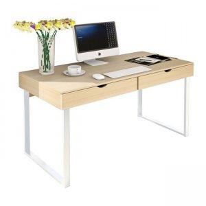 Γραφείο υπολογιστή με δύο συρτάρια μεταλλικό άσπρο 100x48x75 εκ