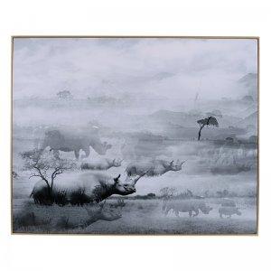 Πίνακας διακοσμητικός Foggy με μεταλλικό πλαίσιο 150x5x125 εκ