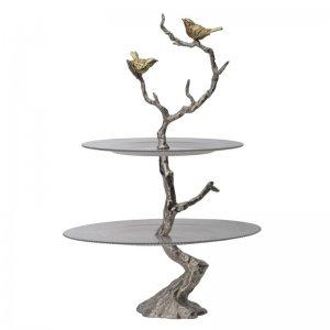 Πιατέλα διώροφη Branch από γυαλί και μέταλλο 39x39x61 εκ
