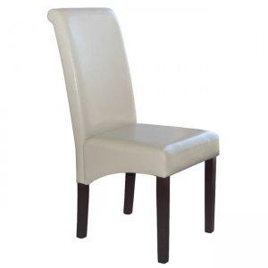 Maleva H ξύλινη καρέκλα με pu ivory 46x61x100 εκ