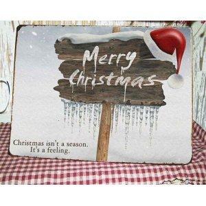 Merry Christmas Vintage Χριστουγεννιάτικο Ξύλινο Πινακάκι 20x25cm