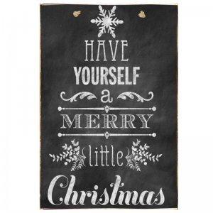 Have Yourself A Merry Little Christmas Vintage Χριστουγεννιάτικο Ξύλινο Πινακάκι Chalkboard 20x30cm