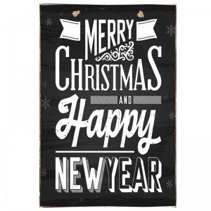 Merry Christmas and A Happy New Year Vintage Χριστουγεννιάτικο Ξύλινο Πινακάκι Chalkboard 20x30cm