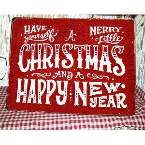 Merry Christmas and A Happy New Year Vintage Χριστουγεννιάτικο Ξύλινο Πινακάκι 20x25cm