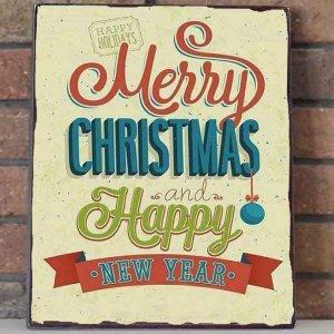 Merry Christmas and A Happy New Year Vintage Χριστουγεννιάτικο Ξύλινο Πινακάκι 20x30cm
