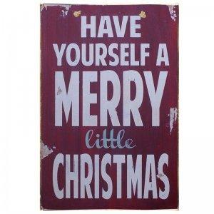 Have Yourself A Merry Little Christmas Vintage Χριστουγεννιάτικο Ξύλινο Πινακάκι 20x25cm