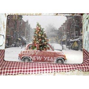 Happy New Year Vintage Χριστουγεννιάτικο Ξύλινο Πινακάκι 20x30cm