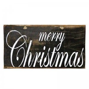 Merry Christmas Vintage Ξύλινο Χριστουγεννιάτικο Πινακάκι 13x26cm