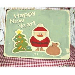 Happy New Year  Vintage Χριστουγεννιάτικο Ξύλινο Πινακάκι 20x25cm