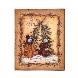 Faith Vintage Χριστουγεννιάτικο Ξύλινο Πινακάκι 20x25cm