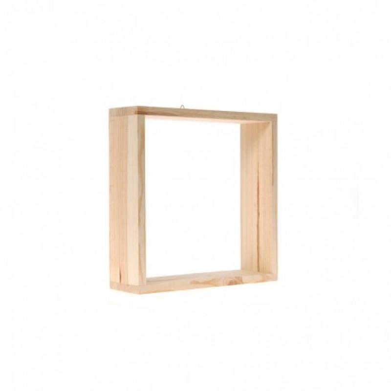 Ξύλινο μονό ράφι τοίχου Cube  30Χ9Χ30 εκ
