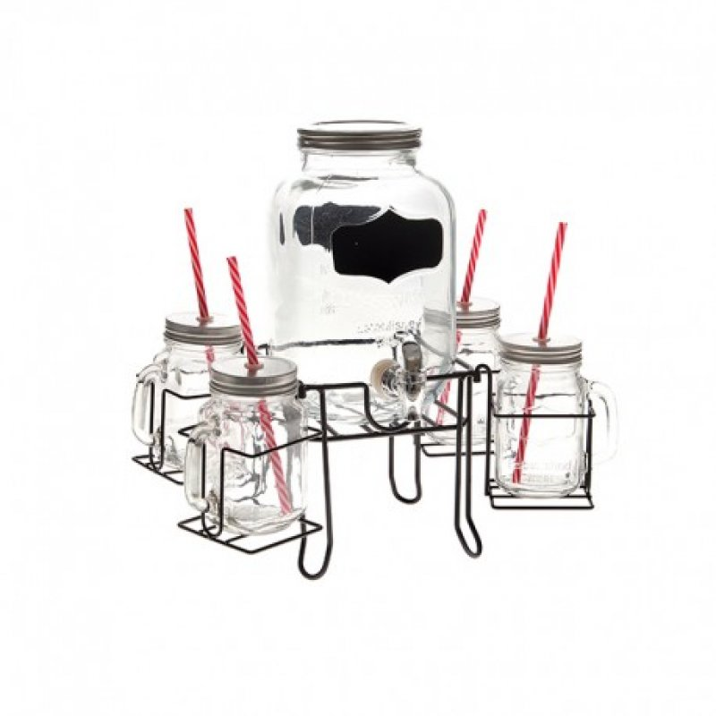 Dispenser ποτών - χυμών με Βρυσάκι 3 Λίτρα και 4 ποτήρια σε βάση