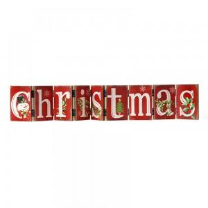 Χριστουγεννιάτικη Πινακίδα  Christmas 74Χ12 εκ Κόκκινη