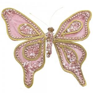 Πεταλούδα ροζ βελουτέ με πέρλα 20 ελ