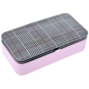 Μπιζουτιέρα ροζ με καρώ καπάκι 18x10x6 εκ