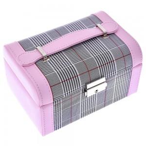 Μπιζουτιέρα βαλιτσάκι ροζ με καρώ υφασμάτινες λεπτομέρειες 18x12x10 εκ