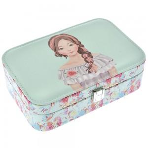 Κουτί για μπιζού με ζωγραφισμένα λουλούδια και πορτραίτο κοριτσιού 22x15x7 εκ