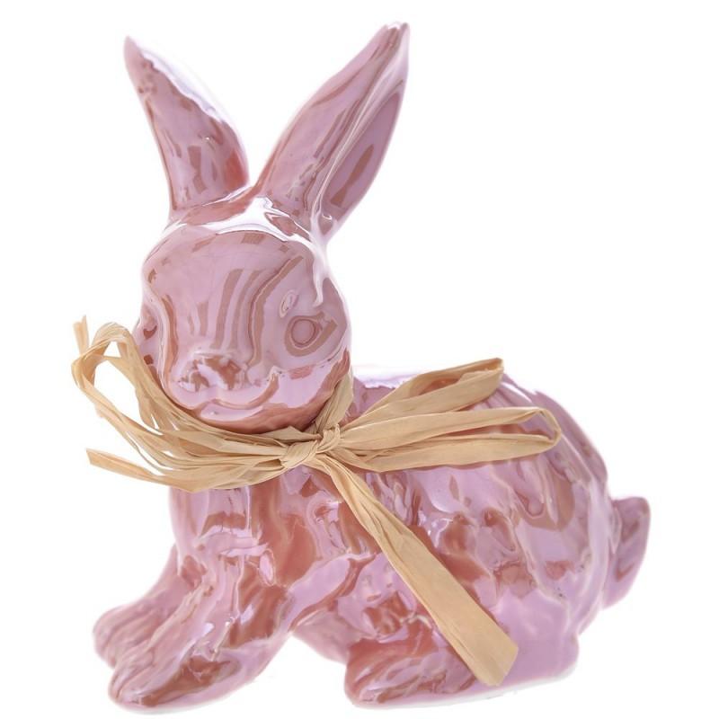 Διακοσμητικός κεραμικός λαγός σε ροζ περλέ χρώμα σετ των τεσσάρων 7x6x10 εκ