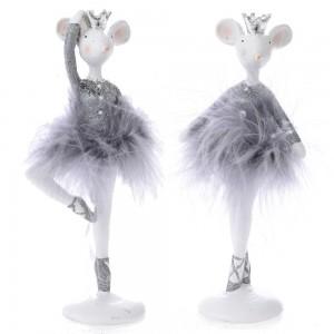 Χριστουγεννιάτικα διακοσμητικά ποντικάκια χορευτές σε σετ των δυο σε δύο διαφορετικά σχέδια 8x5x17 εκ