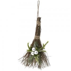 Διακοσμητικό κρεμαστό χριστουγεννιάτικο σκουπάκι με τεχνητά άνθη σετ τεσσάρων 6x10 εκ