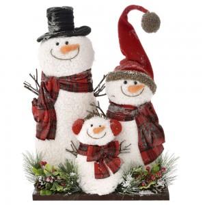 Χριστουγεννιάτικο διακοσμητικό με φιγούρες οικογένειας χιονανθρώπων 37x10x44 εκ