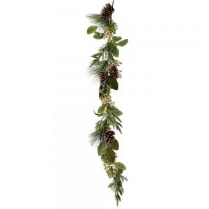 Διακοσμητική πράσινη γιρλάντα με κουκουνάρια και χρυσά berries 150 εκ
