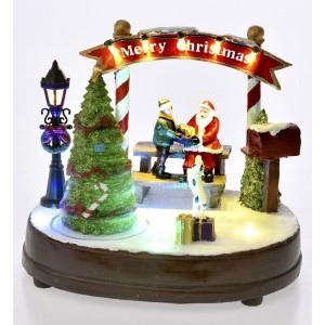 Χριστουγεννιάτικο διακοσμητικό Merry Christmas με μουσική κίνηση και φως 21x16x18 εκ