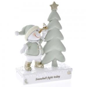 Χριστουγεννιάτικο διακοσμητικό χιονάνθρωπος με δέντρο 11x15 εκ
