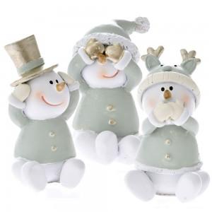Χριστουγεννιάτικοι διακοσμητικοί χιονάνθρωποι σετ των τριών 4x7 εκ