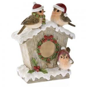 Χριστουγεννιάτικο διακοσμητικό χιονισμένη φωλιά με πουλάκια 11x15