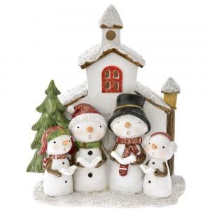 Χριστουγεννιάτικο διακοσμητικό οικογένεια χιονάνθρωπων 14x19 εκ