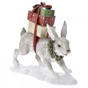 Χριστουγεννιάτικο διακοσμητικό λαγός με δώρα 19x18 εκ