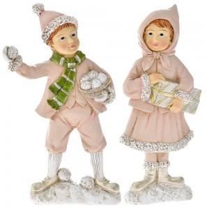 Χριστουγεννιάτικο διακοσμητικό ζευγάρι με ροζ ρούχα σετ των δύο 9x19 εκ