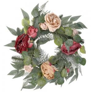 Διακοσμητικό Χριστουγεννιάτικο στεφάνι με χιονισμένα τριαντάφυλλα 50 εκ