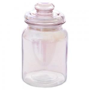 Γυάλινο βαζάκι bubblegum με καπάκι σε ροζ απόχρωση σετ των τεσσάρων 11x18 εκ