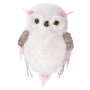 Γούνινο κρεμαστό στολίδι κουκουβάγιας σε ροζ λευκή απόχρωση σετ έξι τεμαχίων 16x6x25 εκ