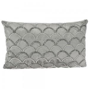 Γκρι μαξιλάρι από βελούδο με χάντρες 50x30 εκ